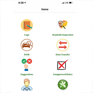 ELD System App Screen with options